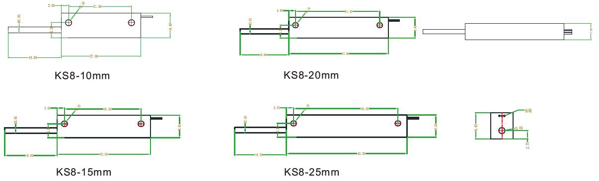 KS8系列微型内置弹簧自复位式位移传感器安装尺寸图